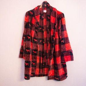 PINK Dog Buffalo Plaid Fleece Robe XS/S